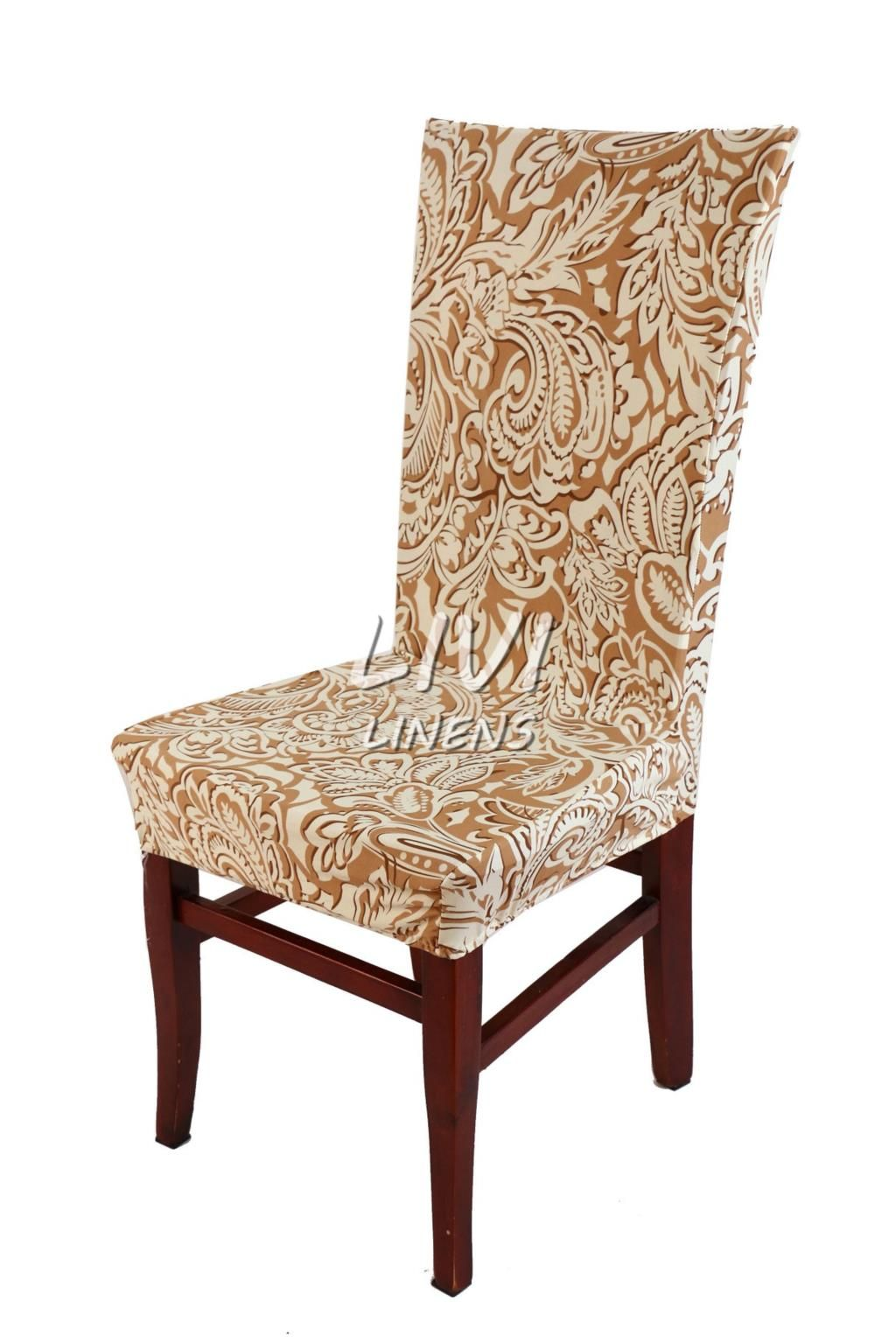 Another beautiful dining cover in cream and brown paisley fabric