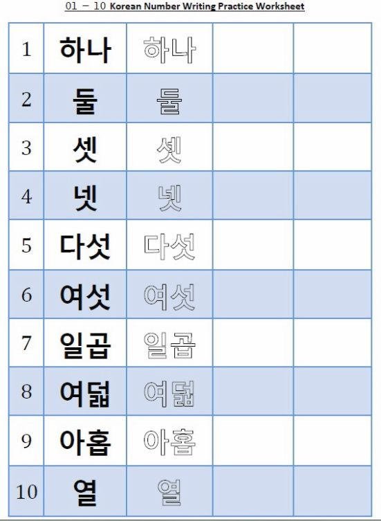 Korean Number Worksheet 1 10 Hangul important – Hangul Worksheets