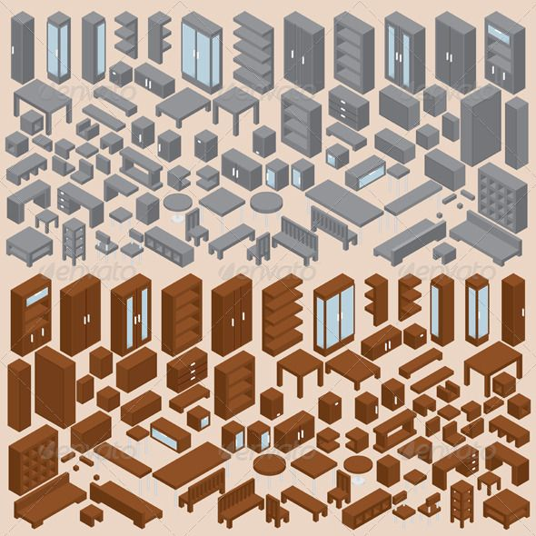 isometric office furniture vector collection. Isometric Furniture Vector Set Two Office Collection F