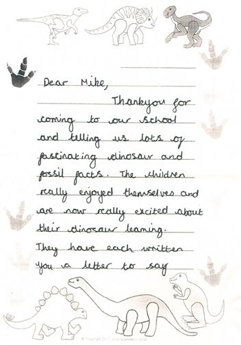 a thank you letter from a teacher after a visit to the school by everything dinosaur