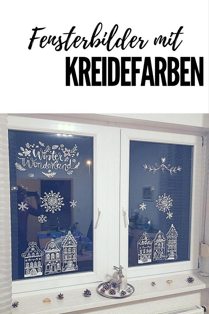 Weihnachtliche Fensterdeko Mit Kreidemarkern Weihnacht Fenster Fenster Dekor Fensterbilder