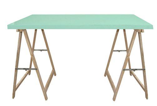 165€ Mesa verde agua con 2 caballetes en madera de pino natural ...