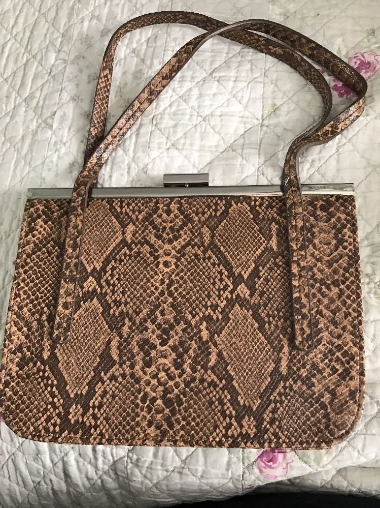Purse Guess Evening Euc Snakeskin Brown Great Print Handbag Ladies 80Nmnw