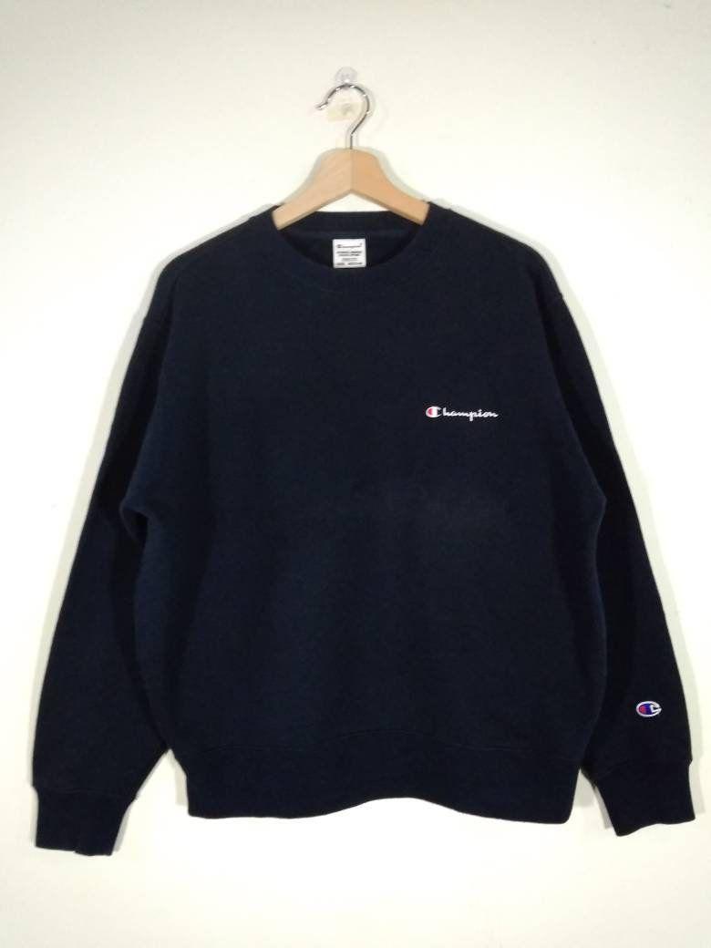 eca64fce8bdd Champion Embroidered Logo Crewneck Pullover Navy Blue Vintage Sweatshirt |  Sweater | Jumper Size M by