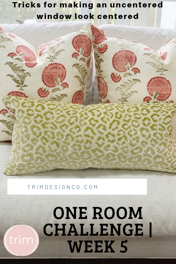 Trim Design Co One Room Challenge Week 5 How To Make A Window That S Not Centered Look Like It S Centered In A R Design Woven Shades Online Interior Design