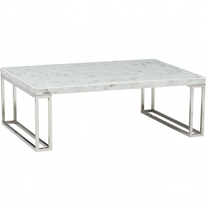 White Mosaic Coffee Table   Furniture   Accent Tables   Coffee Tables  Shelley Sass Designs 858