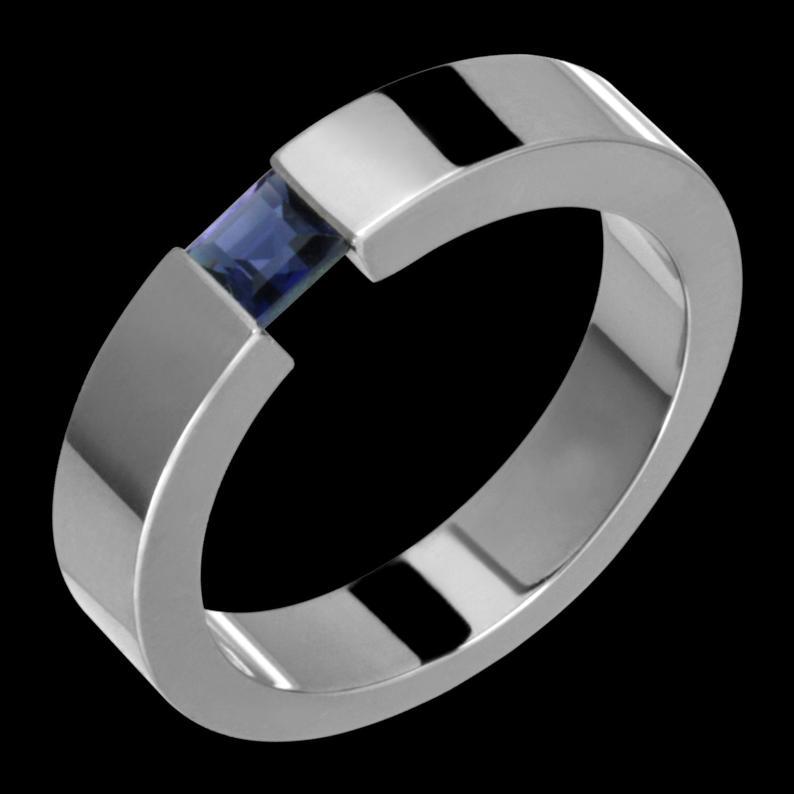 5mm Tension Set Titanium & Sapphire Ring Custom Made