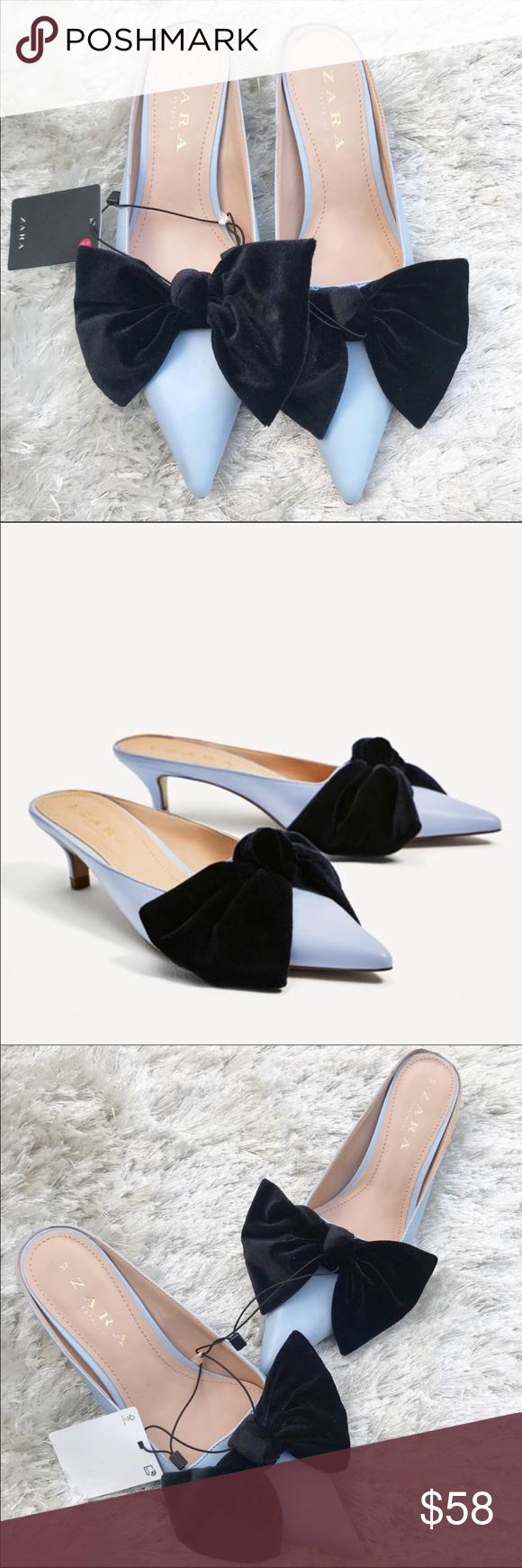Nwt Zara Blue Heeled Mules With Velvet Bow Heeled Mules Blue High Heels Zara
