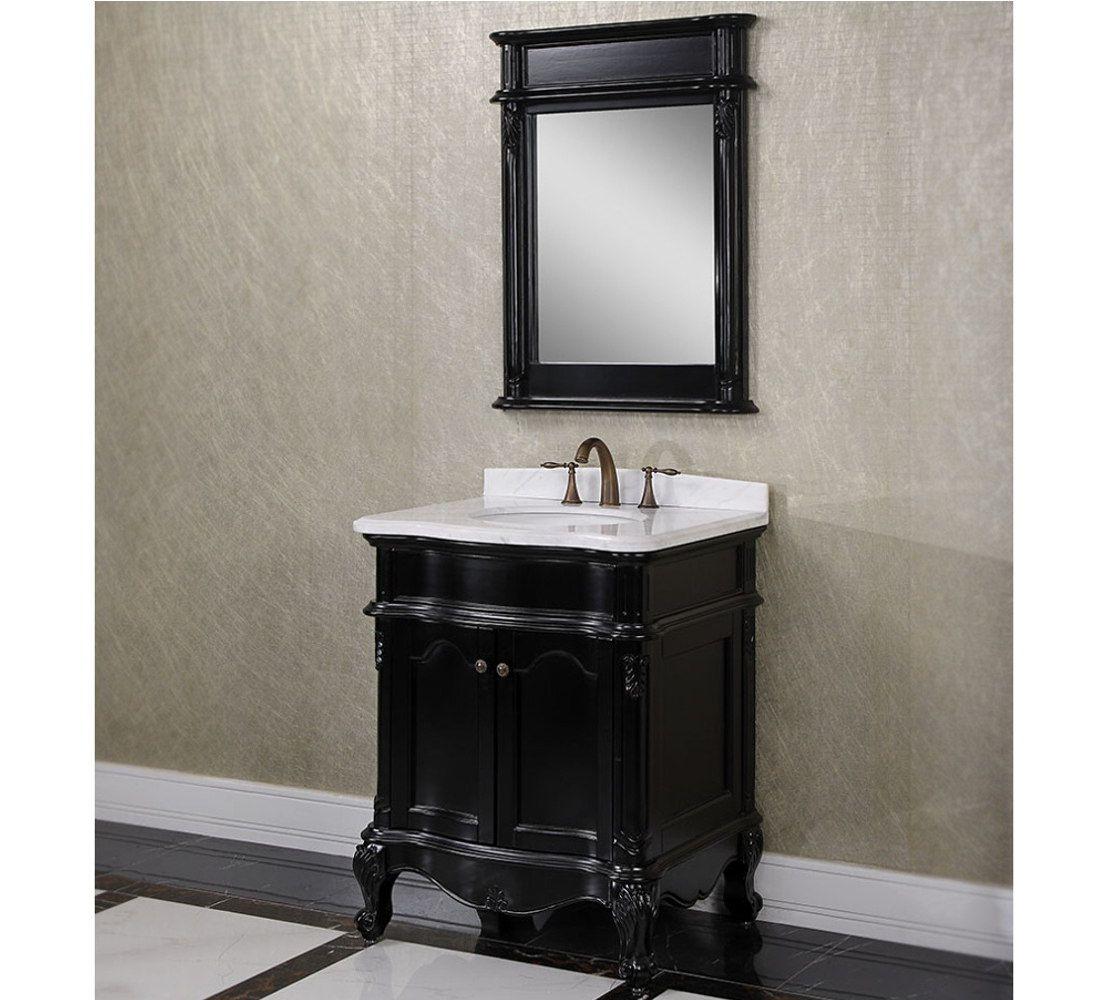 Single Sink Bathroom Vanity Matte Black Finish Black Cabinets