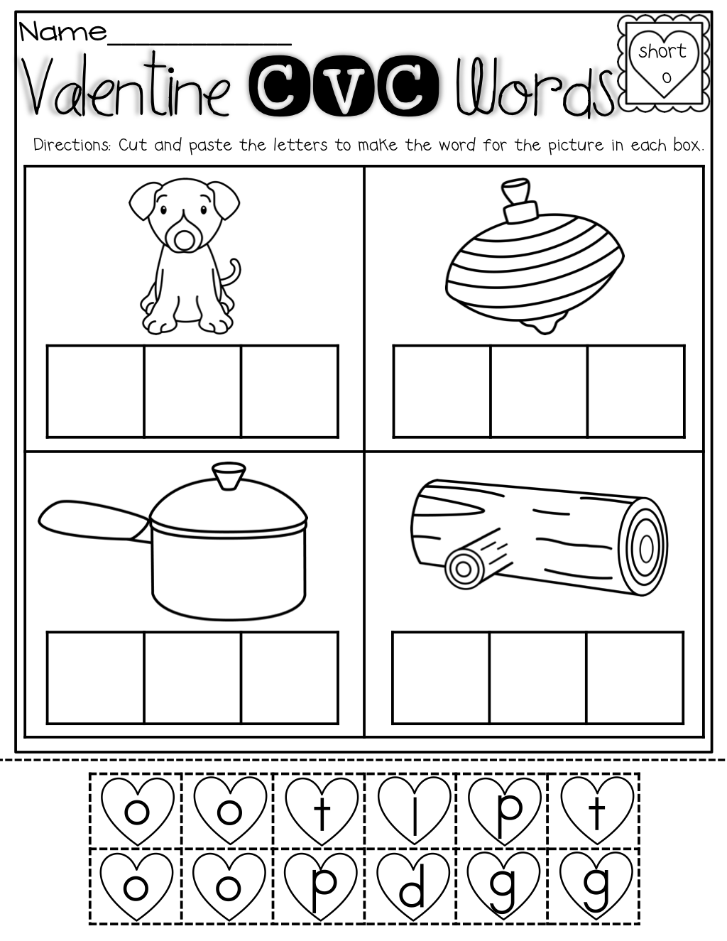 CVC cut and paste! Cut out the cvc letters to make a word that ...