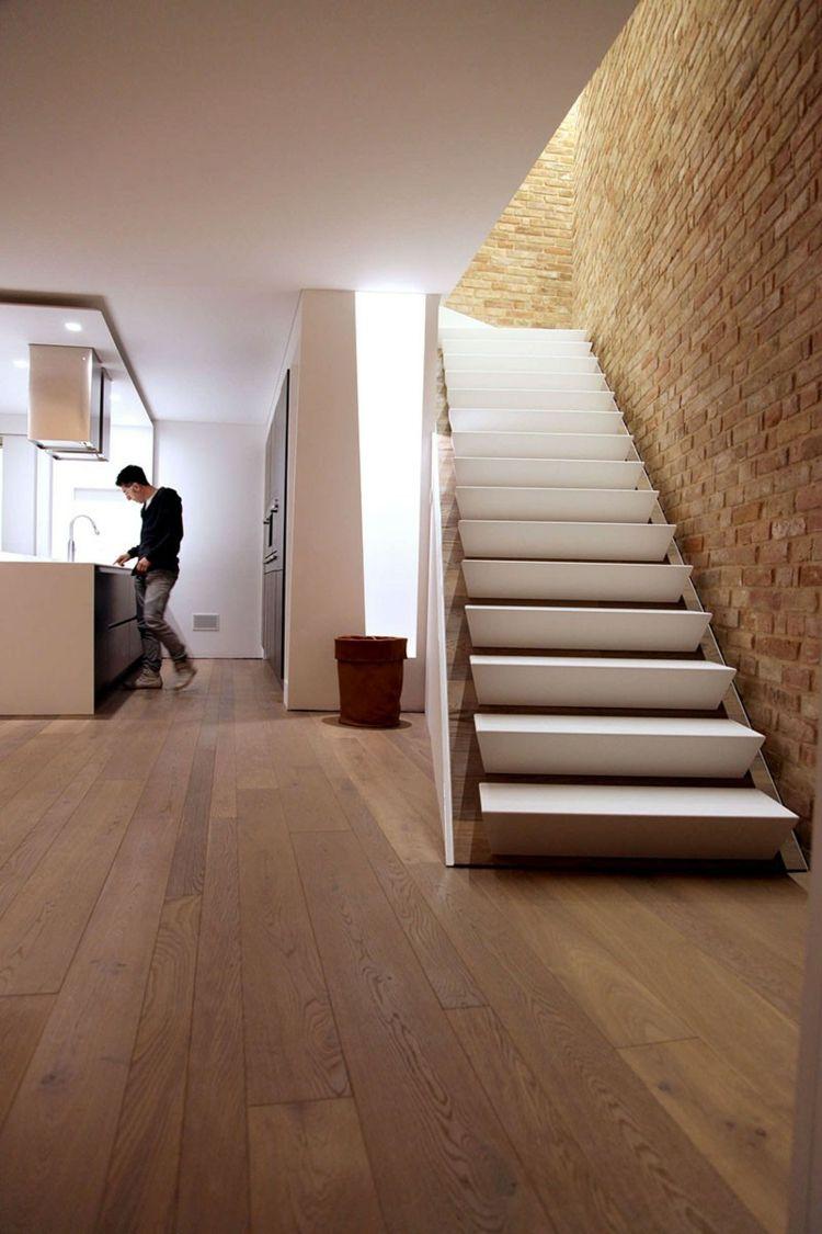 Interieur Idee Parkett Fussboden Treppe Weiss Haus Design