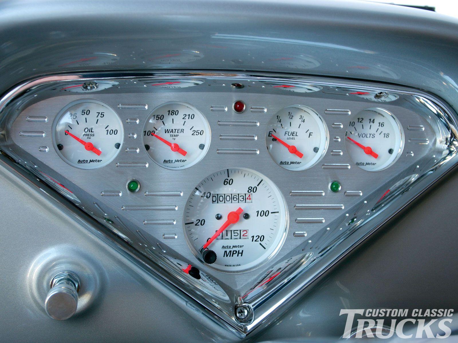 Custom dashboards 1958 chevy apache pickup truck custom dash gauges