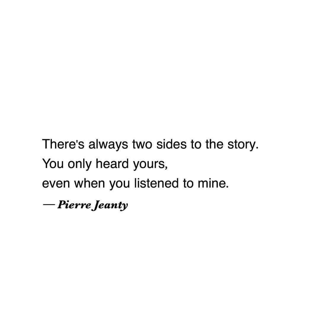 Real Life Poems Quotes Two Sides Of The Story Pierre Jeanty  Quotes & More  Pinterest