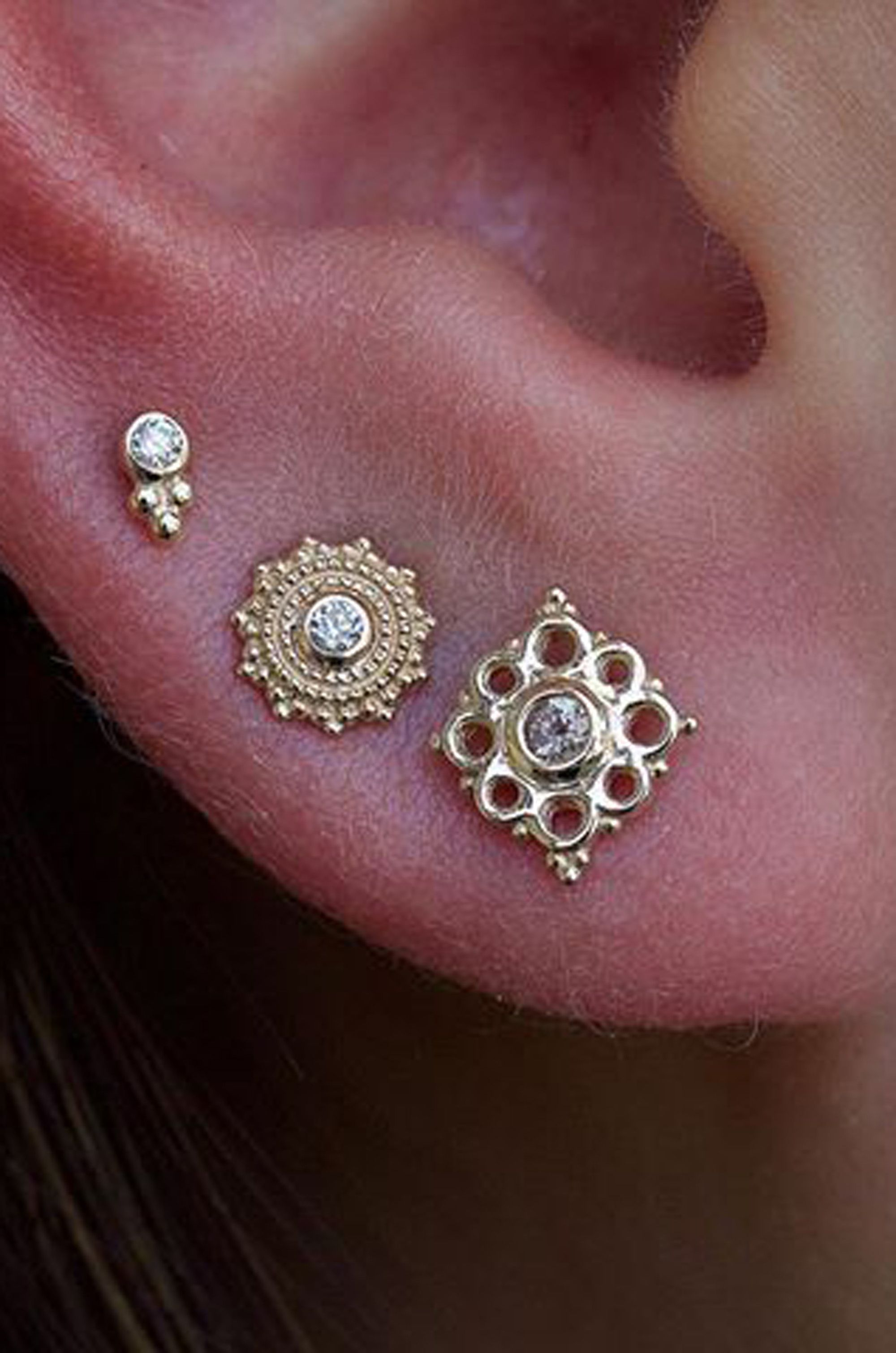 Nose piercing through the middle  Elowen Boho Small Crystal Stud Ear Piercing Earrings in Gold or