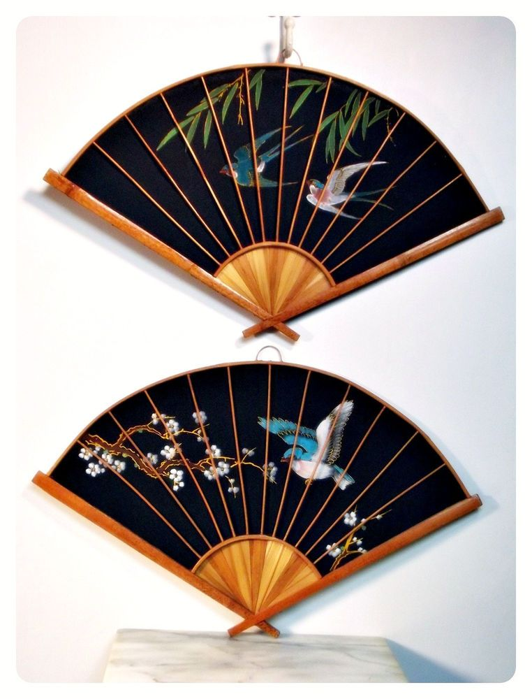 Oriental Wall Fans Painted Feng Shui With Images Wall Fans Feng Shui Japanese Home Decor