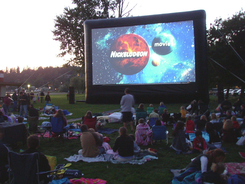 Watch an outdoor movie outdoor movie screen outdoor