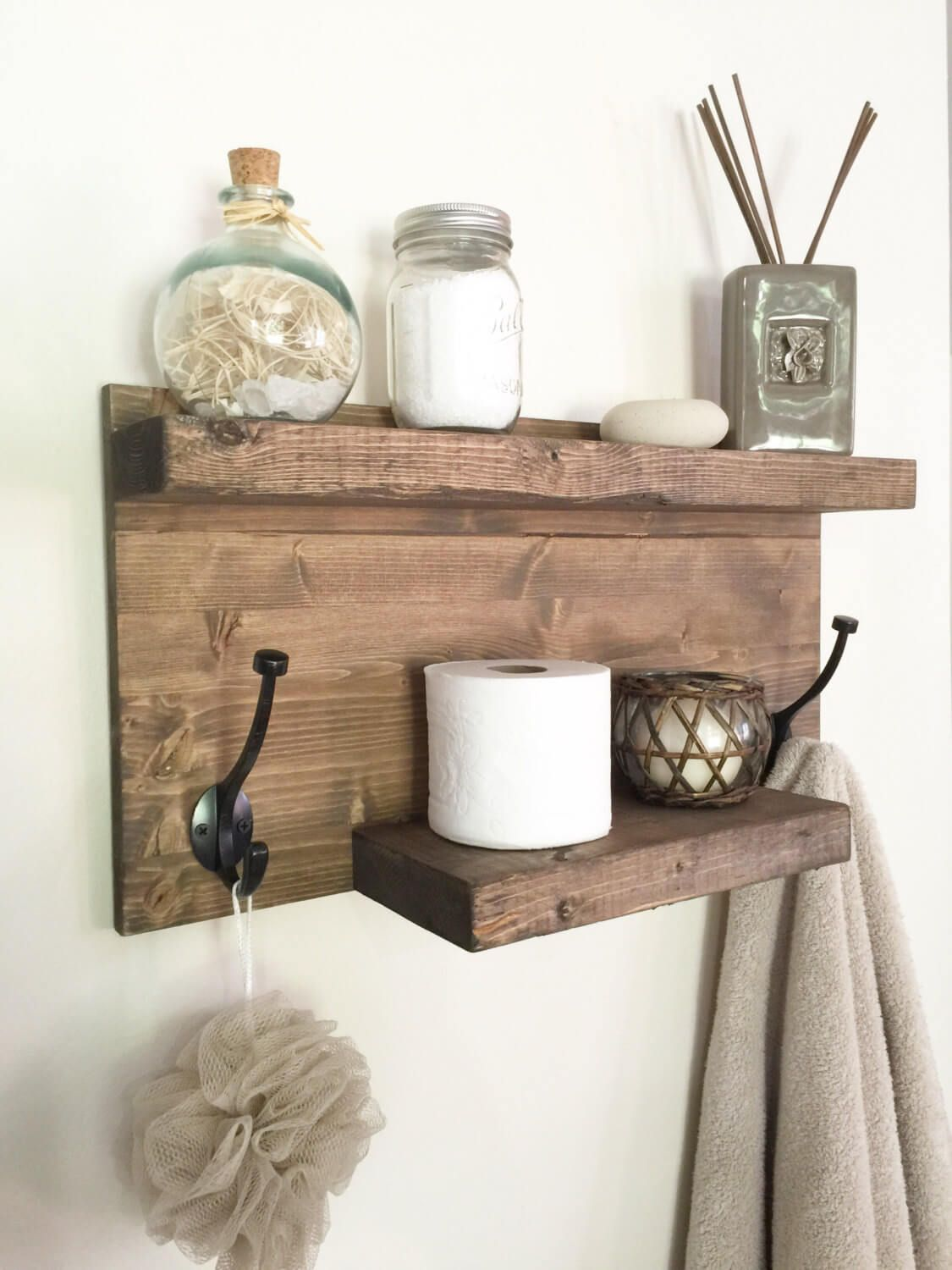 DIY Wood Towel Rack and Organizer add a couple of hooks