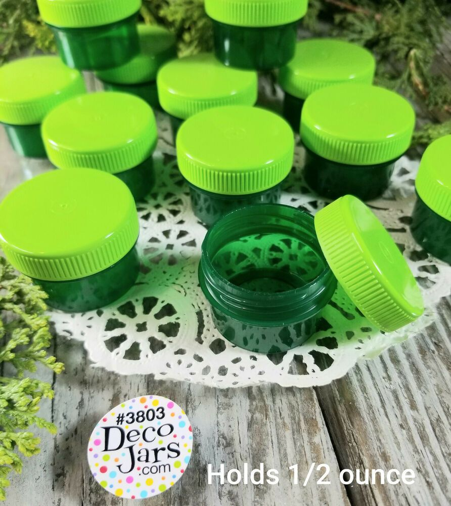 24 Green Plastic Jars Screw Caps 1 Tblsp 1 2oz Container Lip Gloss 3803 Decojars Decojarsjarsizestockk3803 In 2020 Plastic Jars Jar Screw Caps