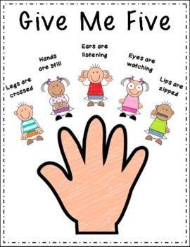 Classroom Management Give Me Five Mini Posters Classroom