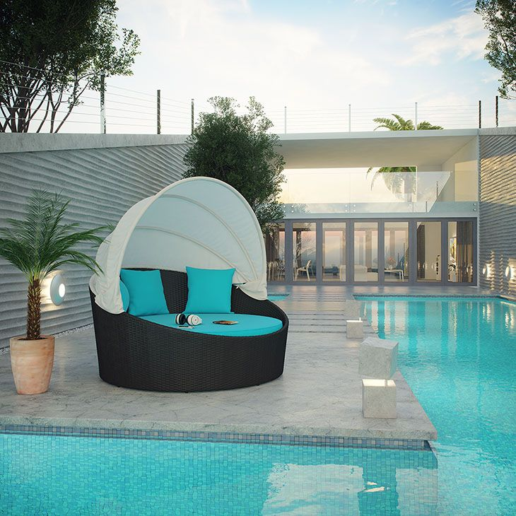 Siesta Canopy Outdoor Patio Daybed | Canopy outdoor, Patio ...