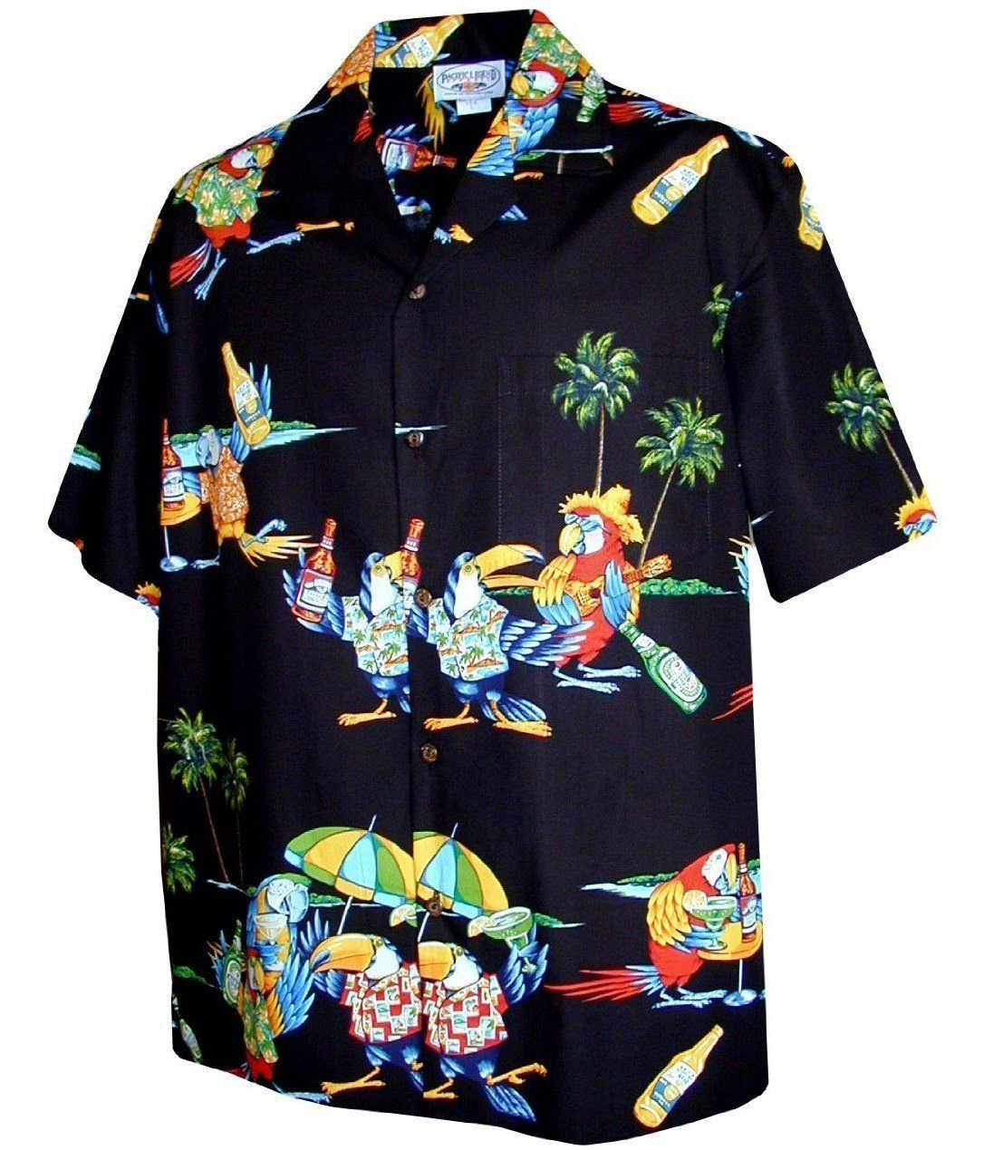 1989195a8d Pacific Legend Parrots Leis Ukes and Beer Parrot Head Hawaiian Shirt ...