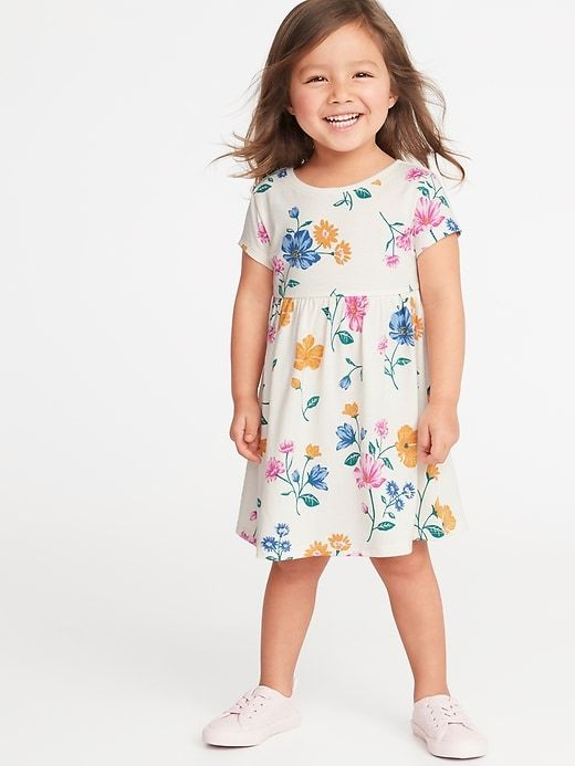 df363fc4c1 Old Navy Toddlers' Jersey Fit & Flare Dress Cream Floral Size 12-18 M