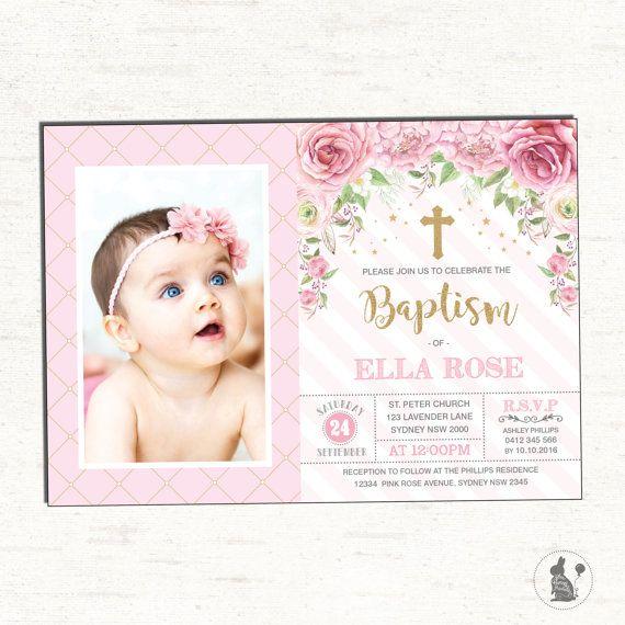 Christening Invitation Girl Baptism Invitation Template Pink Floral Christening Invite Gold Printable Invitation Baby Girl Invitation