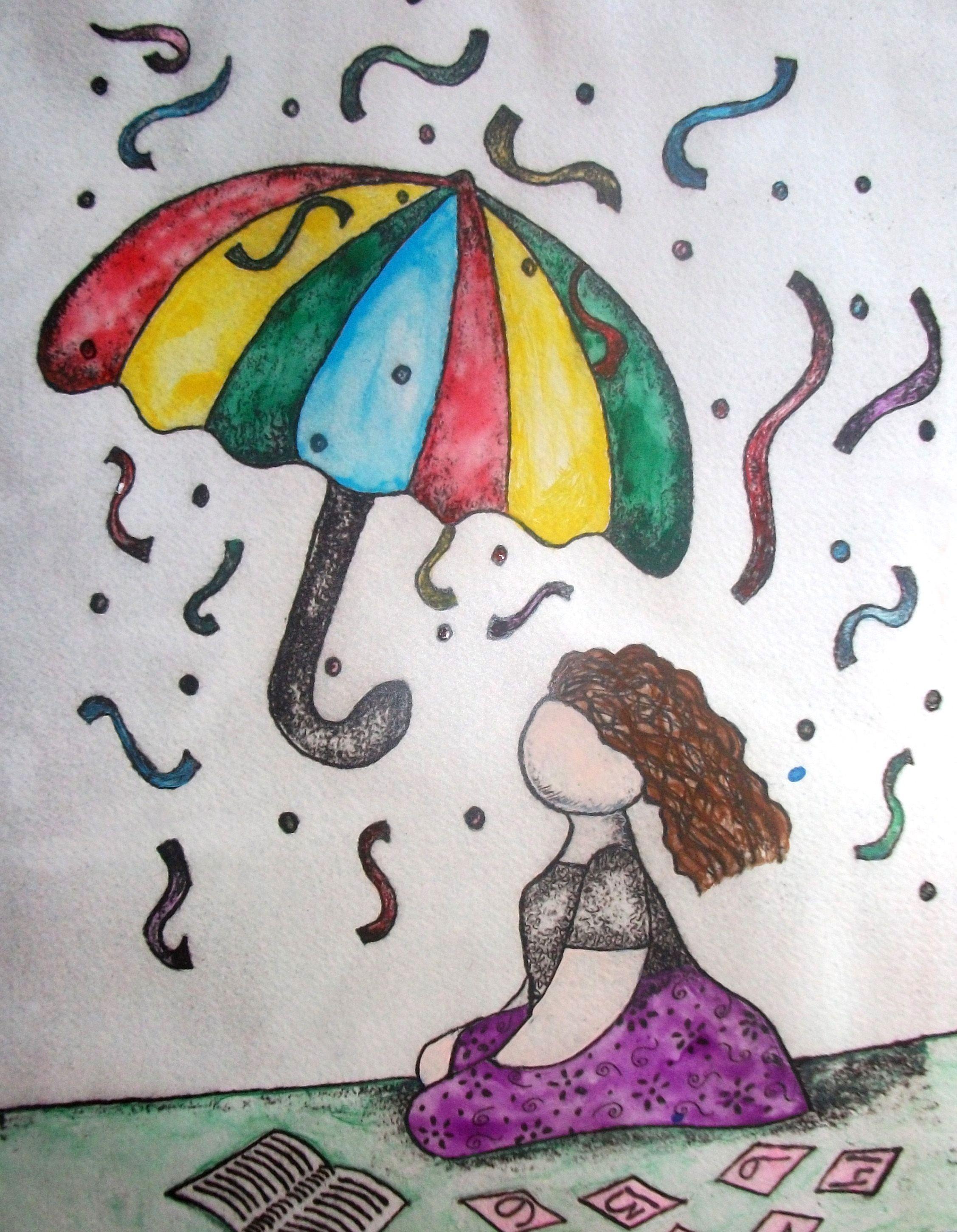 """Autor: Ana Arista, """"Paraguas"""", técnica: mixta (grabado, fotografía y acuarela)."""
