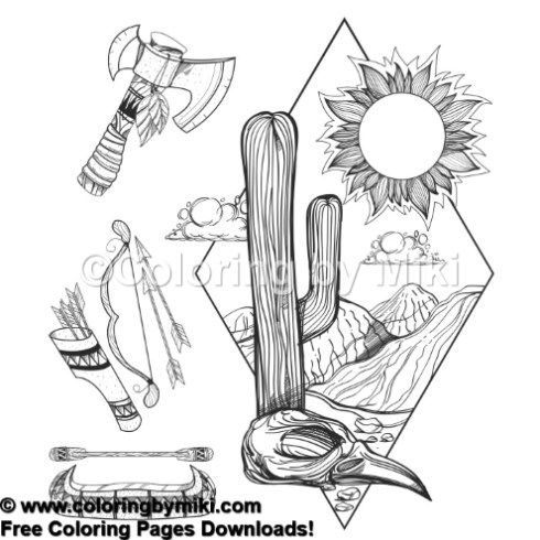 American Indian Tools And Land Coloring Page 974 Boho