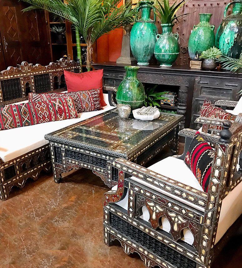 Amazing Bone Inlay Salon Set From Morocco Tierra Del Lagarto Scottsdale Furniture Store New Finds