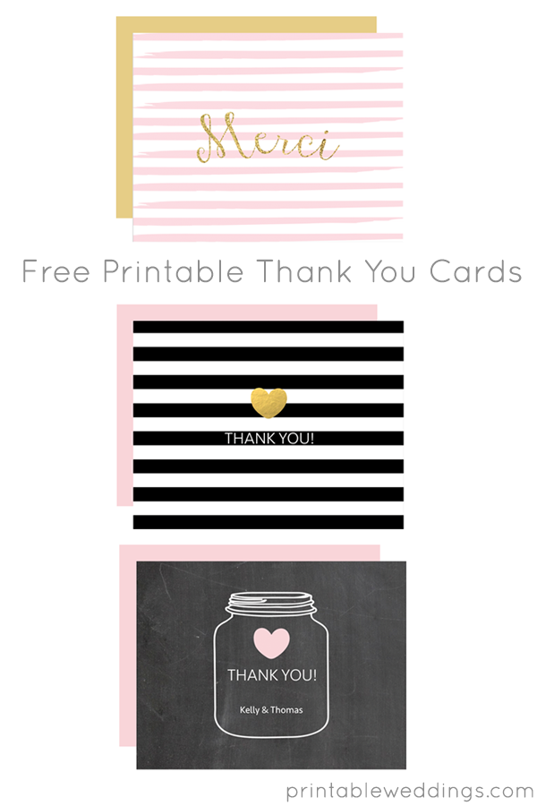 Free Printable Thank You Card Templates from @chicfetti | Free ...