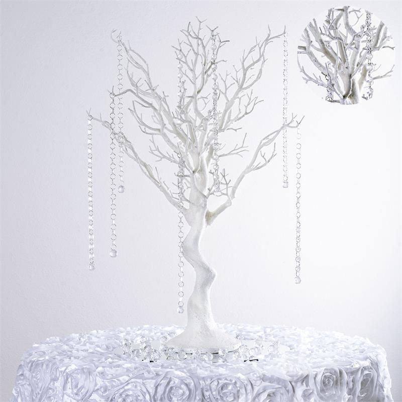 30 Glittered Manzanita White Centerpiece For Wedding Party Event Table Top Decoration Tree 8pcs Acrylic Chains