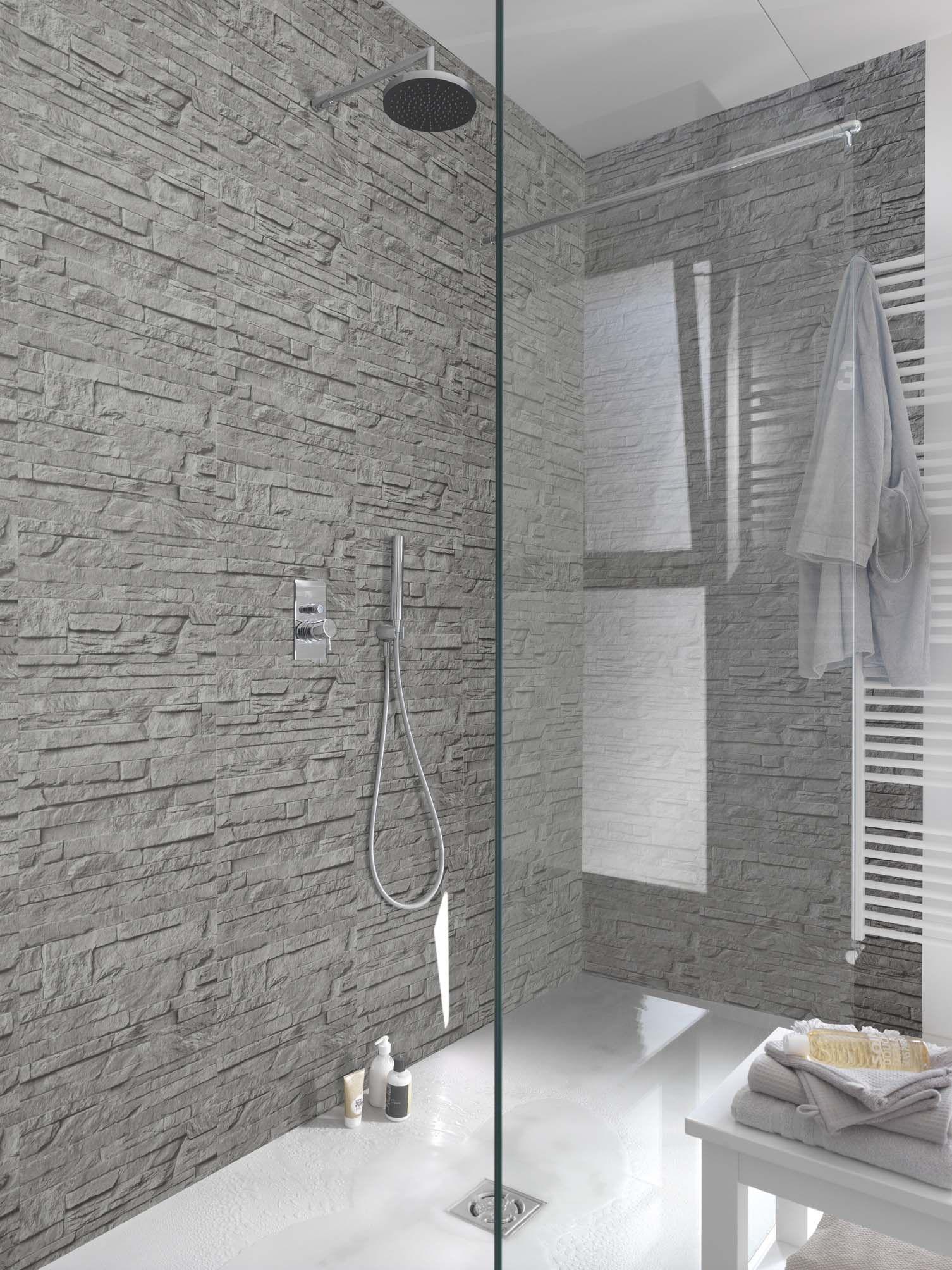 Confort et d coration dans la salle de bains lambris effet pierre avec un beau relief et une - Lambris pvc grosfillex salle de bain ...
