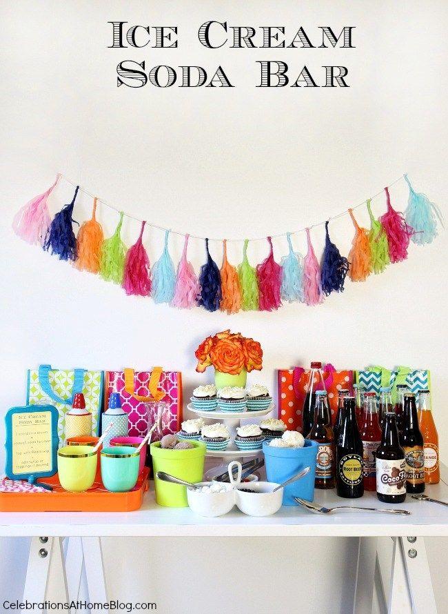 Set up an Ice Cream Soda bar. Great birthday party idea. #PartyReddi #sponsored #birthdayparty #icecream