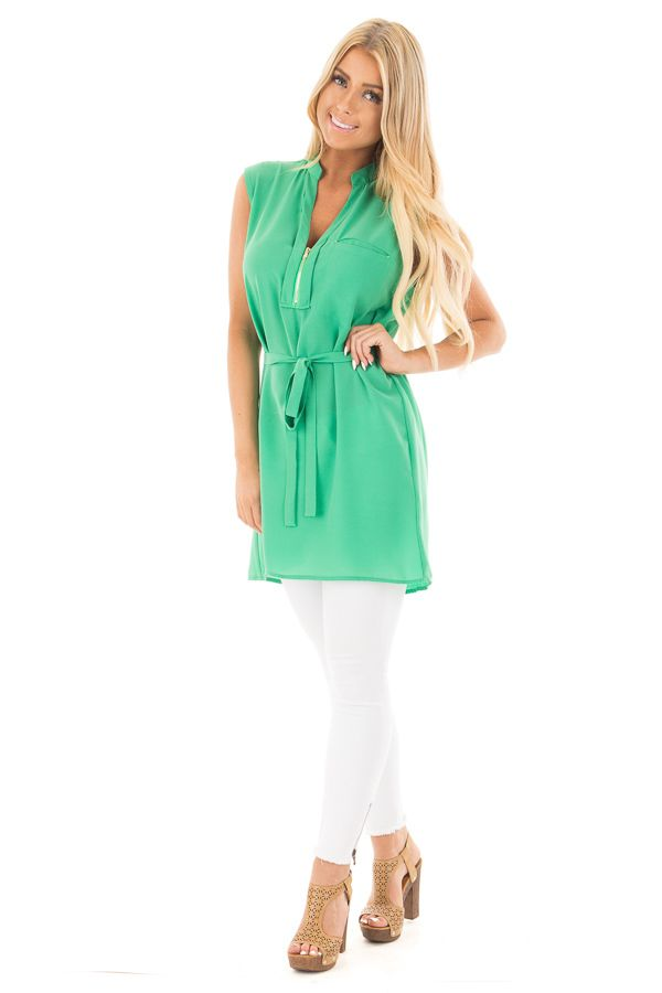 Kelly Green Sleeveless Short Dress With Belt Tie