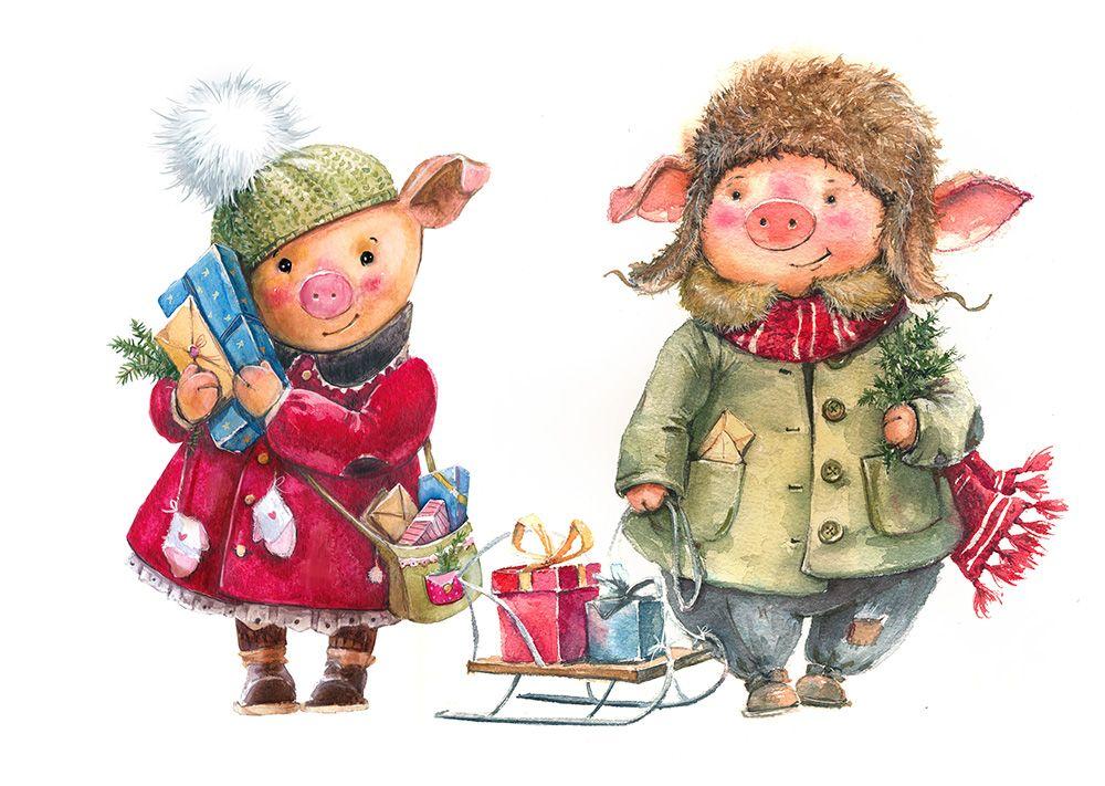 Новогодние открытки свинок, про сыночка