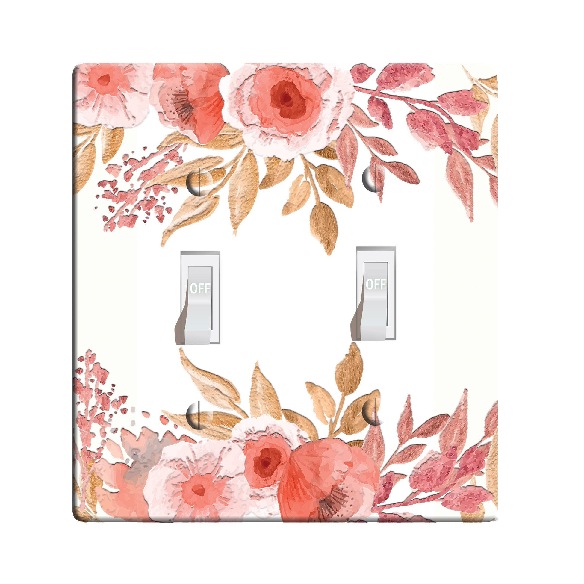 3D Printed Maxi Metal Peach Golden Floral Switch Plate