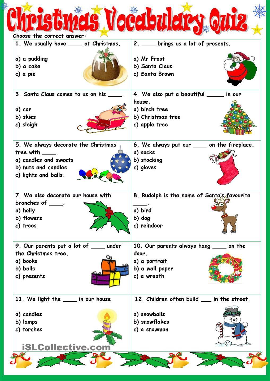 Workbooks quiz worksheets : Christmas Vocabulary Quiz | Christmas Lessons | Pinterest ...