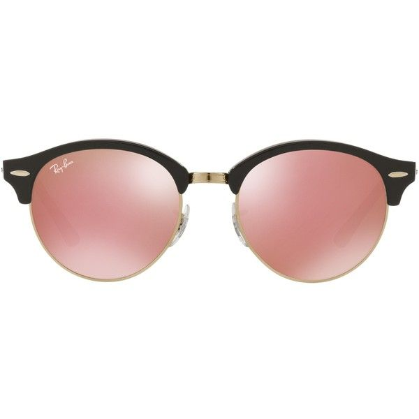 Ray-Ban RB4246 Clubround Round Sunglasses , Black/Cherry Blossom ($165) ❤ liked on Polyvore featuring accessories, eyewear, sunglasses, adjustable glasses, round frame glasses, ray ban glasses, tinted sunglasses and rounded sunglasses