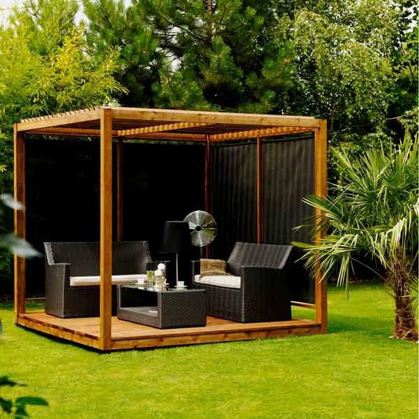 salon de jardin d\'été en bois, pergola cubique en bois | Proyectos ...