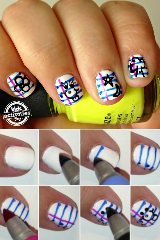 This Notebook Paper Nail Art Is The Perfect Design To Wear On Your Nails For First Day Of School I Know It Looks Hard But S Super Easy