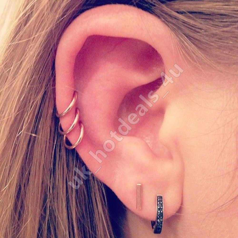 20g Rose Gold Cartilage Earring Rook Helix Hoop Tragus Ring Nose