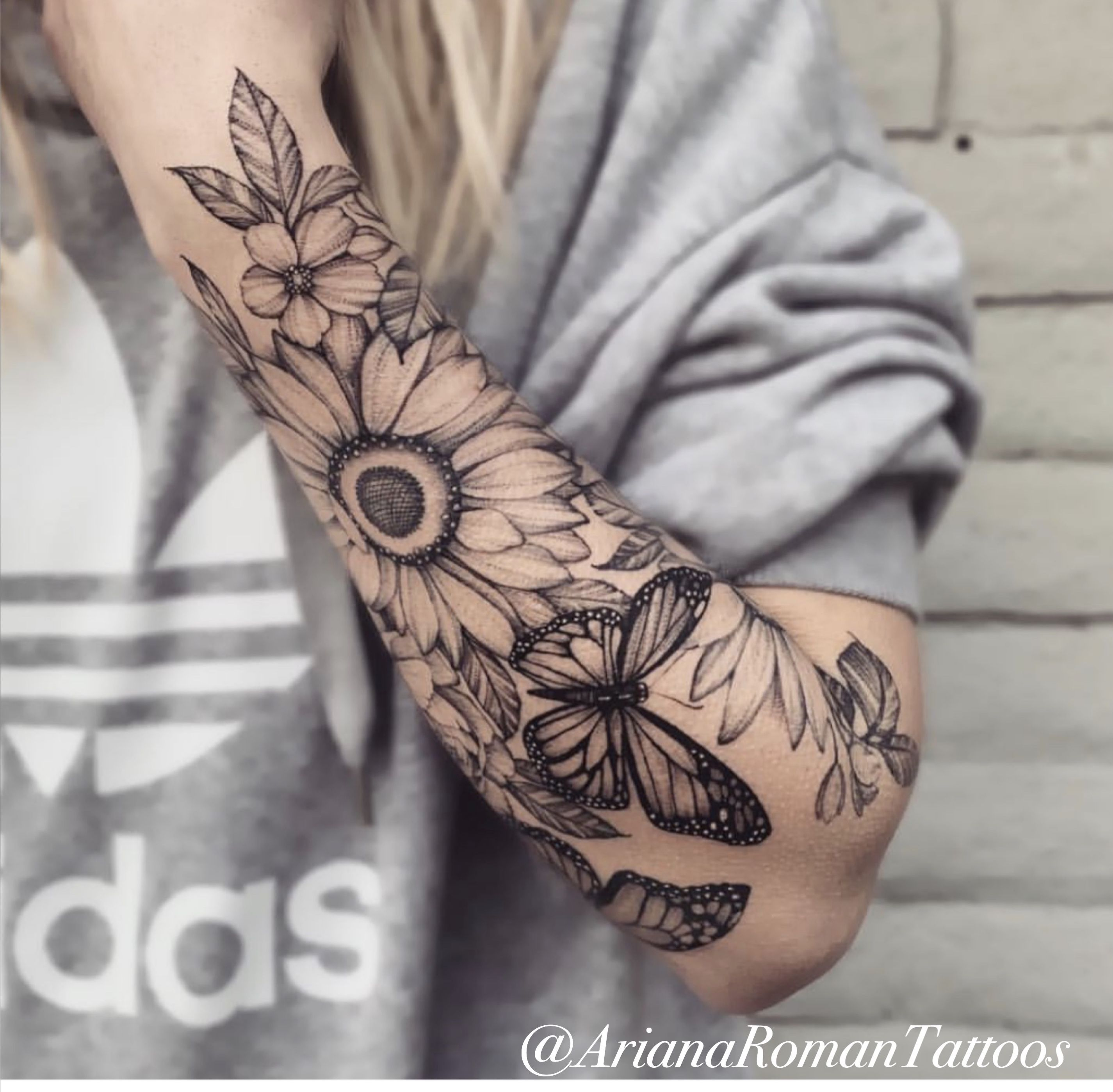 Floral half sleeve by Ariana Roman