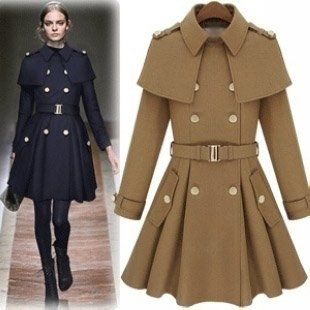 Fashion Flannel Epaulette Double Breasted CoatsWomen Cape Coat