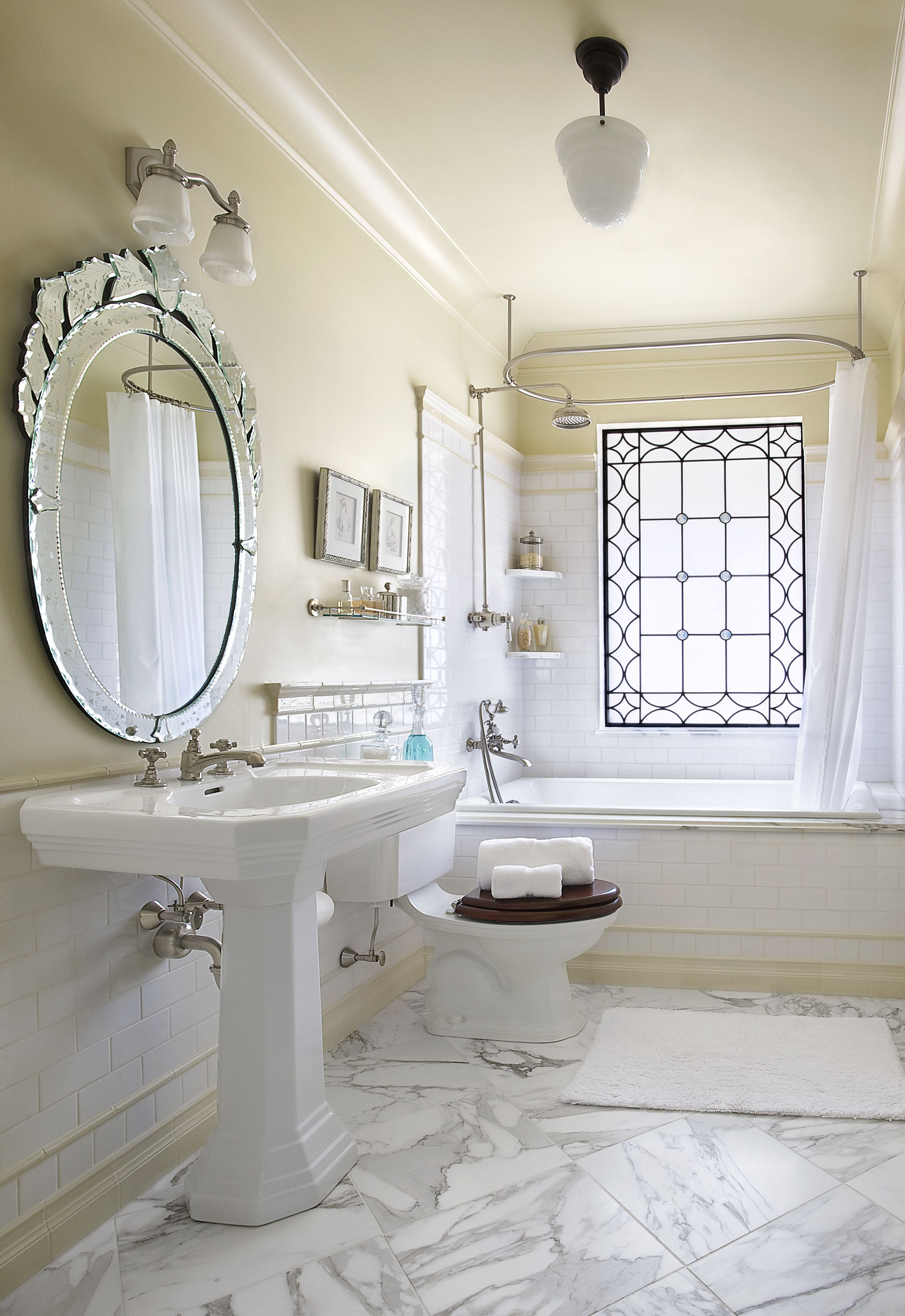 Master bathroom - Cream walls, trim and ceiling are featured ...