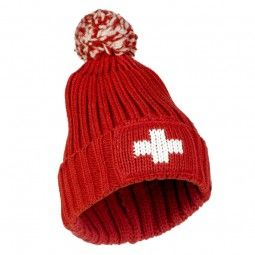Wintermütze CH-Kreuz mit Pompon rot / Toque CH - cross with red pompom  Beautiful winter cap , which protects the ears from the cold. The fabric is very comfortable to wear .