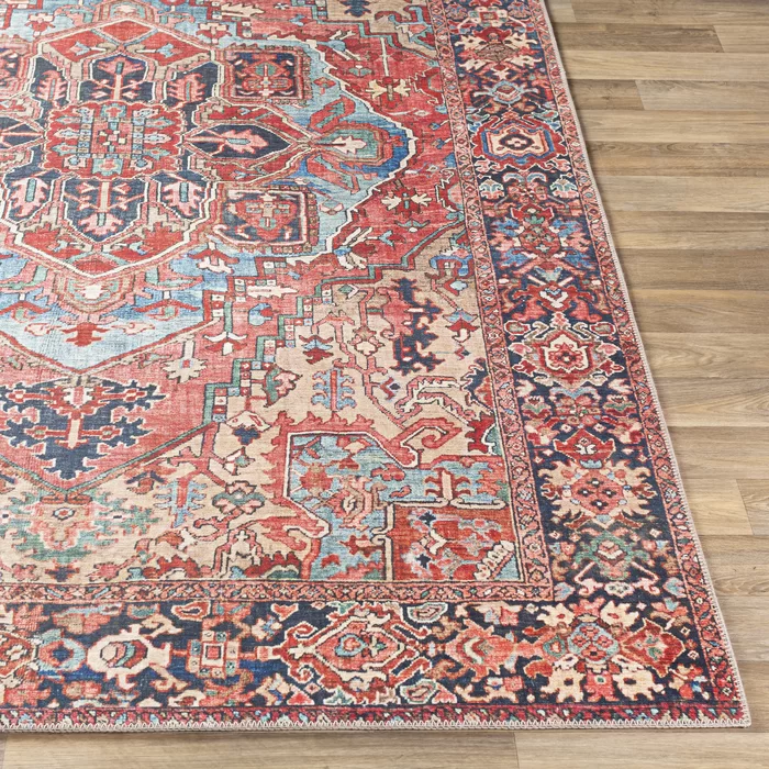 Crook Oriental Power Loom Bright Red Navy Wheat Ice Blue Grass Green Ivory Rug In 2020 Area Rugs Vintage Medallion Ivory Rug