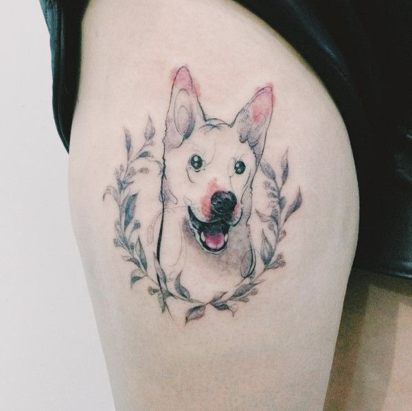 This South Korean Tattoo Artist Mixes Watercolor Elements With Flowing Line Drawings Creating Stunning Tri Dog Portrait Tattoo Dog Tattoo Dog Memorial Tattoos
