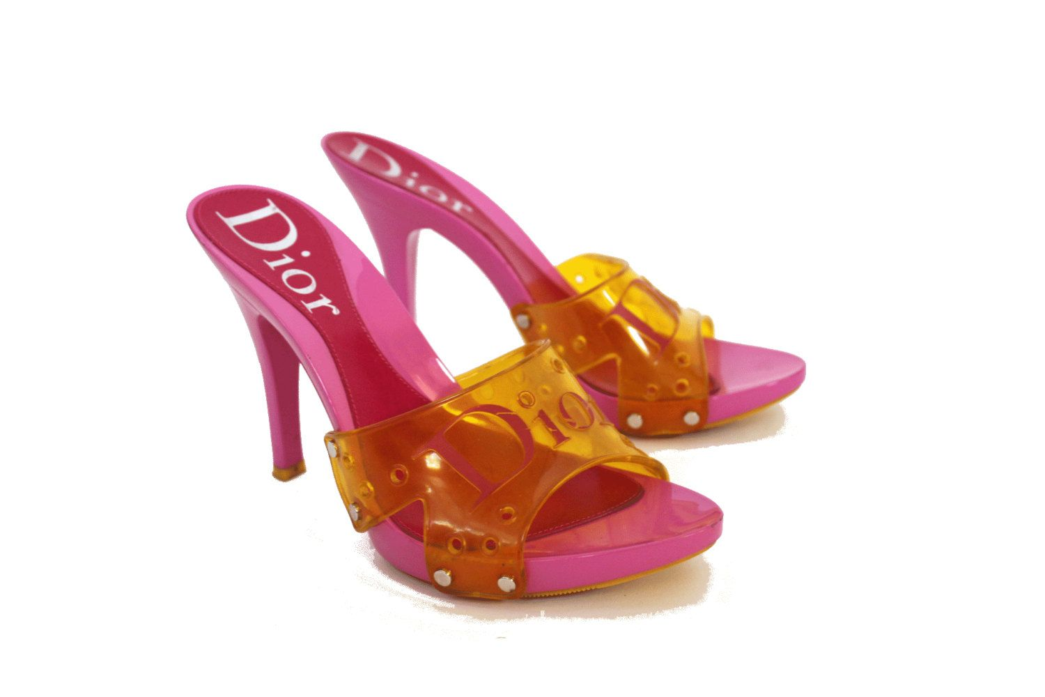 8d1832c7424 Vintage Dior heels 90's pink and yellow clear plastic mules CD ...