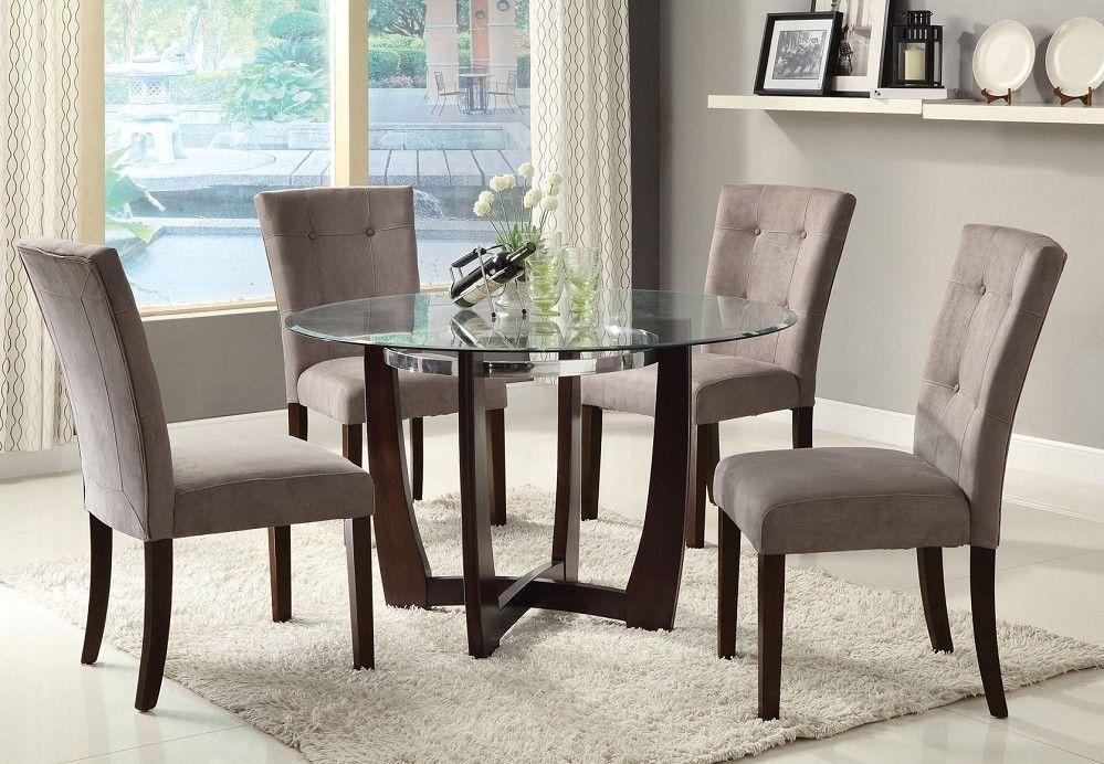 Baldwin 8mm Glass Top & Grey Microfiber Chairs 5pc Dining Table Set